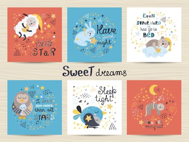 Conjunto de lindas tarjetas para bebés