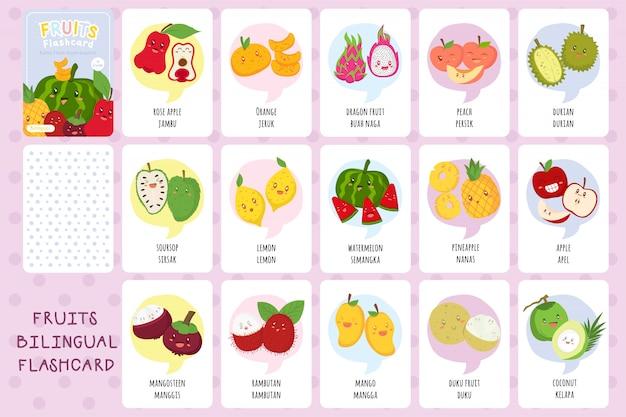 Conjunto de lindas tarjetas bilingües de frutas tropicales