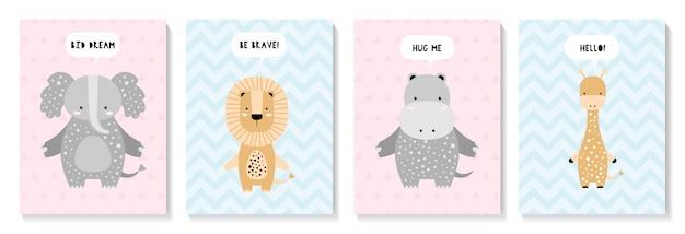 Un conjunto de lindas tarjetas con elefante, león, jirafa, hipopótamo.