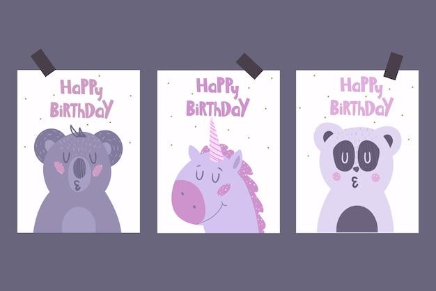 Conjunto de lindas tarjetas de felicitación con animales.