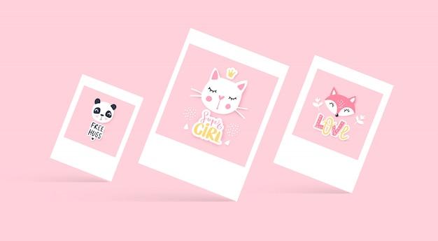 Conjunto de lindas tarjetas de felicitación.