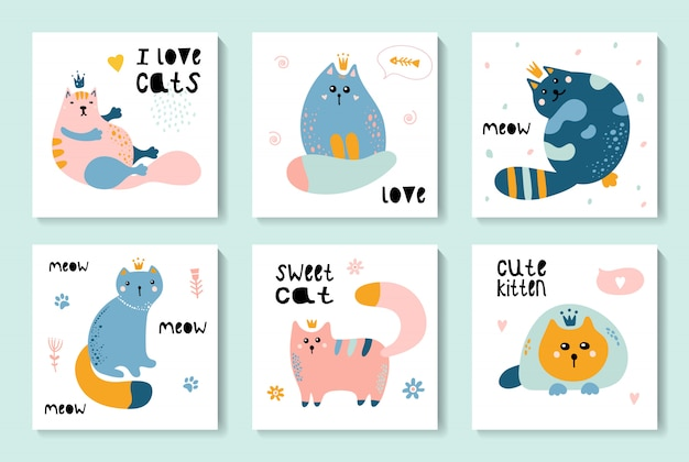Un conjunto de lindas tarjetas con gatos.