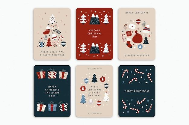 Conjunto de lindas tarjetas navideñas orgánicas