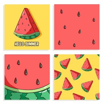 Conjunto de lindas tarjetas de sandía con estilo dibujado a mano de color