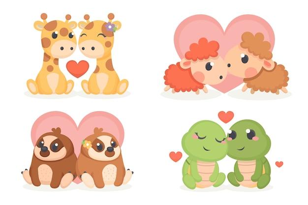 Conjunto lindo animal pareja de san valentín