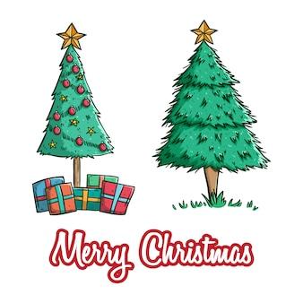Conjunto de lindo árbol de navidad con caja de regalo y estrella con estilo de doodle de color