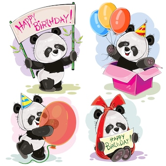 Conjunto de lindo bebé panda osos con banner de feliz cumpleaños, con arco y tarjeta de felicitación