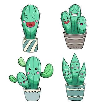 Conjunto de lindo cactus con cara o expresión kawaii