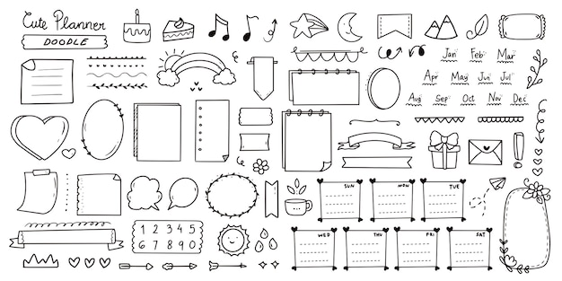 Conjunto de lindo conjunto de doodle de notas de diario de bala