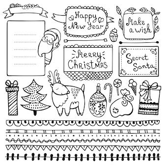 Conjunto de lindo dibujado a mano navidad, año nuevo e invierno doodle elementos aislados