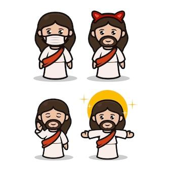 Conjunto de lindo diseño de mascota de jesús