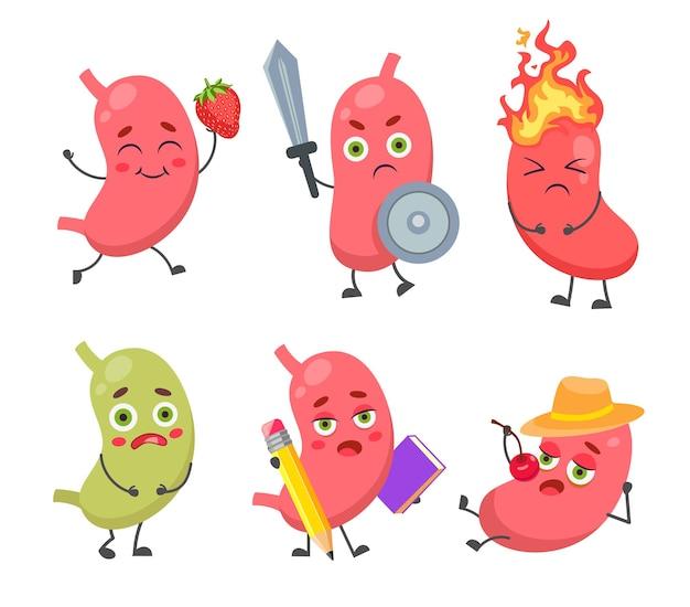 Conjunto de lindo y divertido personaje de estómago