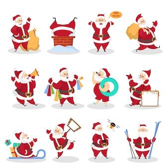 Conjunto de lindo divertido santa claus en vasos celebrando navidad y año nuevo. feliz santa con bolsa divirtiéndose. ilustración