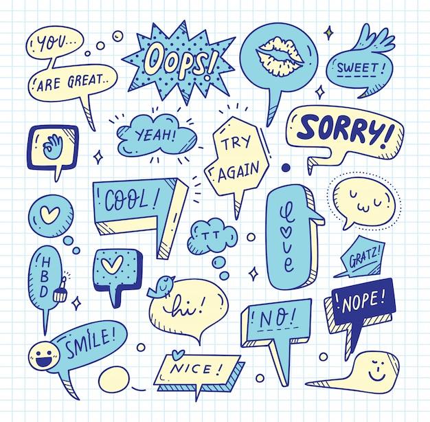 Conjunto lindo del doodle de la burbuja del discurso