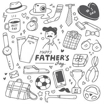 Conjunto lindo doodle del día del padre
