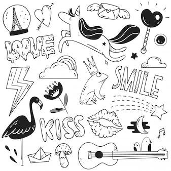 Conjunto de lindo doodle para estampado y estampado.