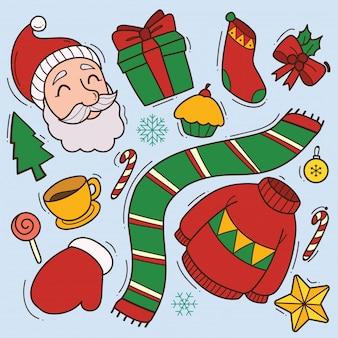 Conjunto de lindo doodle de navidad