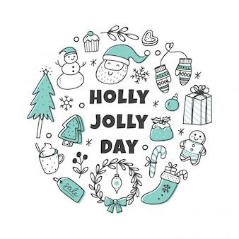 Conjunto lindo doodle de navidad