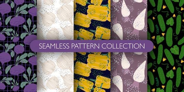 Conjunto de lindo doodle vegetales de patrones sin fisuras. colección de patrones: rábano, remolacha, pimiento, pepino.