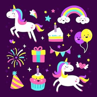 Conjunto de lindo elemento de cumpleaños de fiesta de unicornio