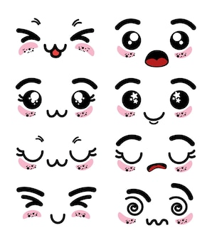 Conjunto de lindo emoticon kawaii encantador