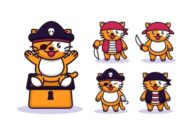 Conjunto de lindo gato con disfraz de piratas.