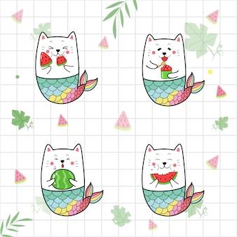 Conjunto de lindo gato sirena comiendo agua melón