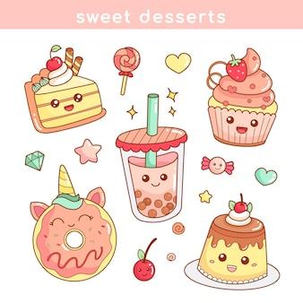 Conjunto de lindo icono de etiqueta engomada de postres de comida dulce en la ilustración de estilo kawaii