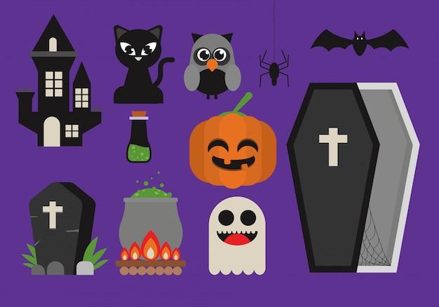 Conjunto lindo de imágenes prediseñadas de halloween