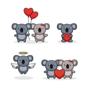 Conjunto de lindo koala en el día de san valentín
