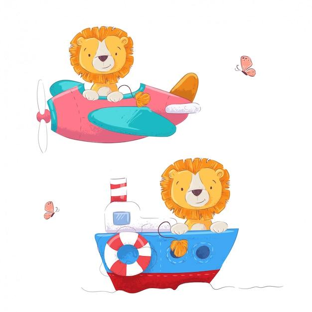 Conjunto lindo león de dibujos animados en un avión y barco niños clipart. ilustración vectorial