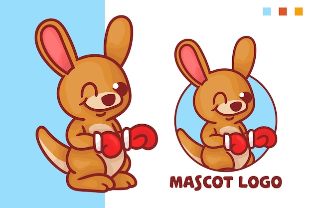 Conjunto de lindo logotipo de mascota canguro boxer con apariencia opcional.