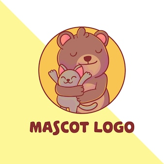 Conjunto de lindo logotipo de mascota gato y oso
