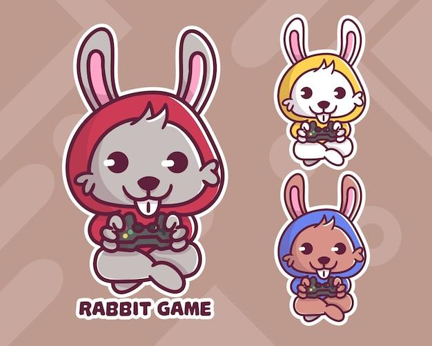 Conjunto de lindo logotipo de mascota de juego de conejo con apariencia opcional.
