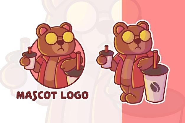 Conjunto de lindo logotipo de mascota oso café con apariencia opcional