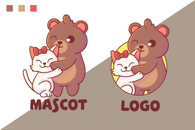 Conjunto de lindo logotipo de mascota oso y gato con apariencia opcional.