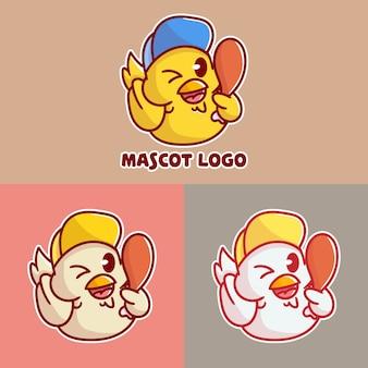 Conjunto de lindo logotipo de mascota de pollo frito con aplicación opcional