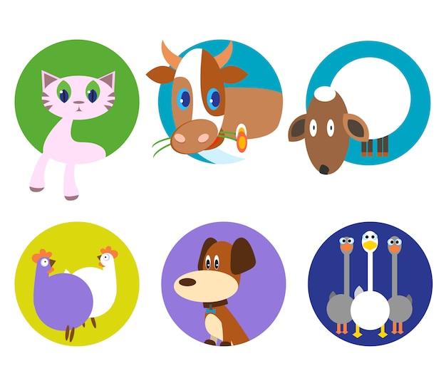 Conjunto lindo del modelo del vector de los animales, ilustraciones en fondo coloreado. iconos de animales de compañía divertidos