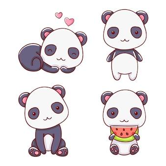 Conjunto de lindo panda en varias poses, ilustración vectorial, estilo de dibujos animados