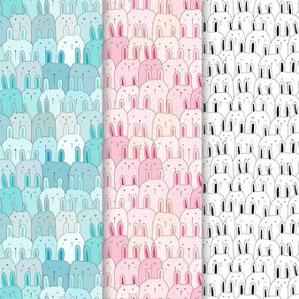 Conjunto lindo patrón de conejito.