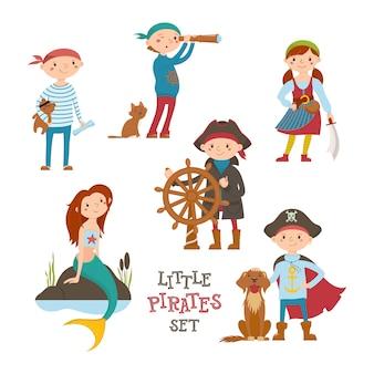Conjunto de lindo pequeño pirata, niños marineros y sirena, dibujos animados