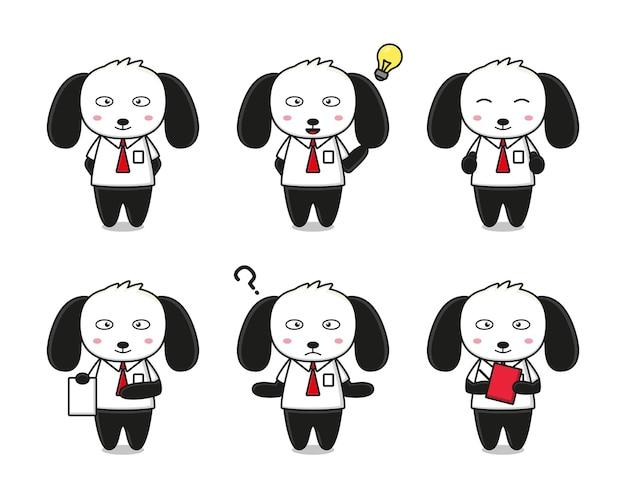 Conjunto de lindo perro con ilustración de icono de dibujos animados de tema empresarial