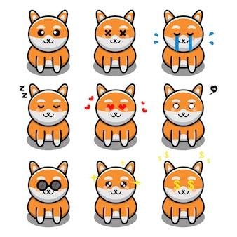 Conjunto de lindo perro con personaje de dibujos animados de expresión
