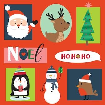Conjunto de lindo personaje y adorno navideño, ilustración vectorial