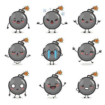 Conjunto de lindo personaje de bomba en emoción de acción diferente