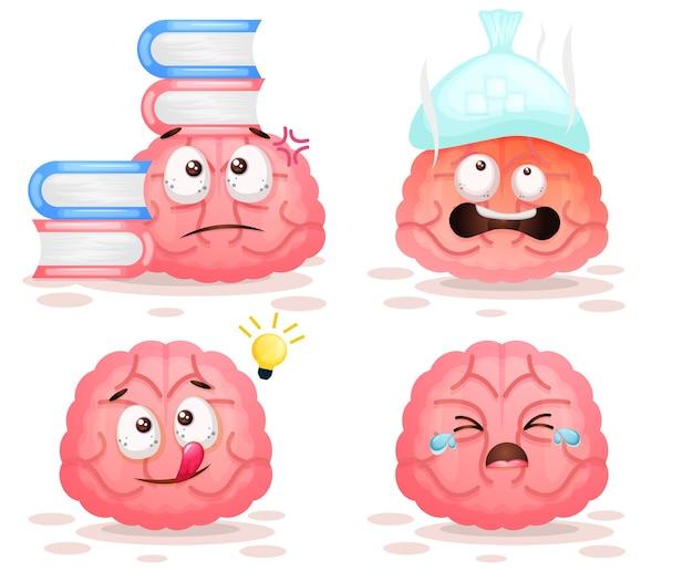 Conjunto de lindo personaje de dibujos animados de actividad cerebral