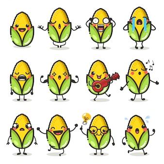 Conjunto de lindo personaje de maíz en emoción de acción diferente