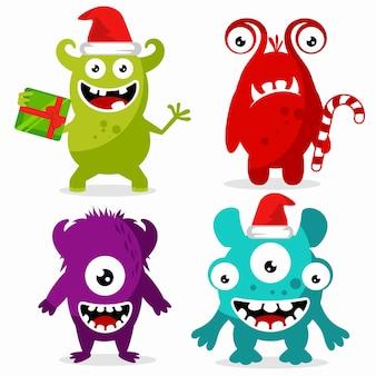 Conjunto de lindo personaje de monstruos celebrando la navidad.