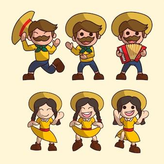 Conjunto de lindo personaje de niño y niña para festa junina