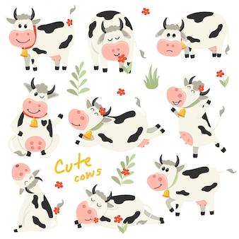 Conjunto de lindo personaje de vacas en varias posiciones.